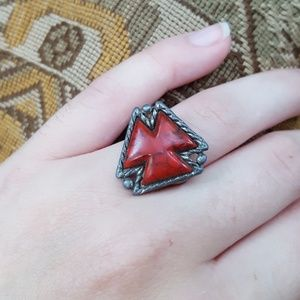 Jewelry - Silver red Aztec stone ring